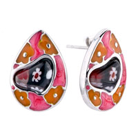 Silver Drop Claybank Flower Black Heart Millefiori Murano Glass Earrings