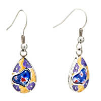 Silver Purple Flower Yellow Drop Millefiori Murano Glass Earrings