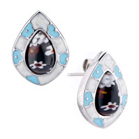 Silver Drop Pale Blue Flower Millefiori Murano Glass Earrings