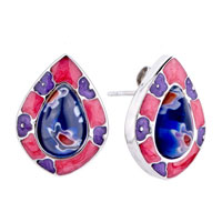 Silver Drop Purple Flower Against Rose Millefiori Murano Glass Earrings