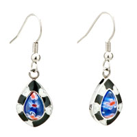 Silver White Flower Black Blue Drop Millefiori Murano Glass Earrings
