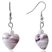 Pale Pink Gemstone Heart Silver Hook Earrings For Women