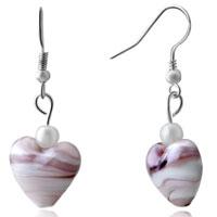 Pale Pink Gemstone Heart Silver Hook Earrings For Women