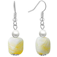 White Square Earrings Murano Glass Dangle For Women