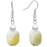 White Square Earrings Murano Glass Dangle For Women