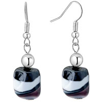 Black Square Earrings Murano Glass Dangle For Women