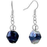 Black Irregular Earrings Murano Glass Dangle For Women