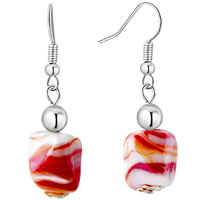 Red Square Earrings Murano Glass Dangle For Women