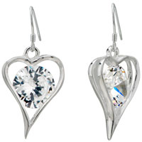 Heart Clear Crystal Round Dangle Sterling Silver Earrings