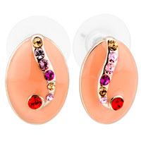 Adorable Pink Orange Oval Colorful Cubic Zirconia Cz Stud Earrings