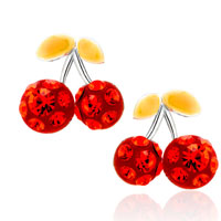 Adorable Red Cherry July Birthstone Cubic Zirconia Cz Glam Earrings