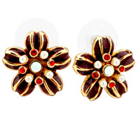 White Pearl Flower Daisy Cubic Zirconia Crimson Enamel Stud Earrings