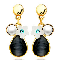 Fashion Pearl Flower Black Drop Dangle 14 K Gold Plated Earrings