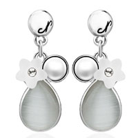Fashion White Pearl Flower Gray Drop Dangle Silver Plated Earrings
