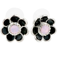 Black Enamel Petal Flower Pinkcubic Zirconia Cz Glam Stud Earrings
