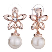 Rose Gold Flower April Birthstone Clear Crystal Dangle Pearl Earrings