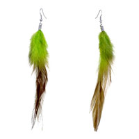 Triple Fine Long Chartreuse Olivine Feather Dangle Knot Earrings