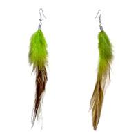 Triple Fine Long Chartreuse Olivine Feather Dangle Knot Earrings