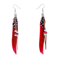 Red Feather Drape White Dot Brown Leather Orange Beads Dangle Knot Earrings