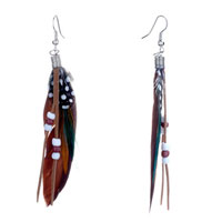 Dark Brown Green Feather Drape Leather Beads Dangle Knot Earrings