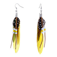 Yellow Green Feather Drape White Dots Brown Leather Beads Dangle Knot Earrings