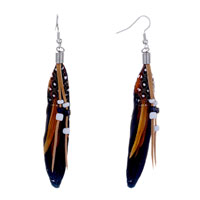 Black Feather Drape White Dot Brown Leather Bead Dangle Knot Earrings
