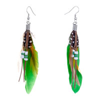 Green Yellow Feather Drape White Dots Brown Leather Beads Dangle Knot Earrings