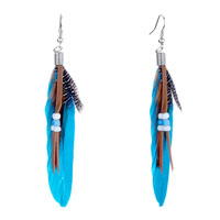 Deep Blue Green Maroon Feather Brown Leather Dangle Knot Earrings