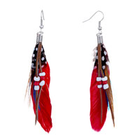 Red Blue Feather Drape White Dots Brown Leather Beads Dangle Knot Earrings