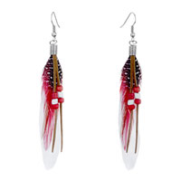 White Red Feather Drape Dots Brown Leather Beads Dangle Knot Earrings