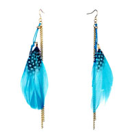 Rope Fine Big Aqua Feather Drape White Dots Double Golden Chain Dangle Knot Earrings