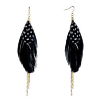 Fine Big Black Feather Drape White Dots Triple Golden Chain Dangle Knot Earrings