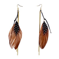 Double Golden Chain Black Rope Dangle Brown Feather Drape White Dots Knot Earrings