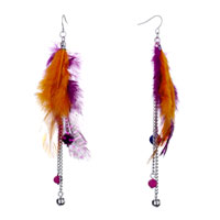 Fine Orange Purple Feather Dots Triple Chain Dangle Ball Knot Earrings