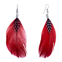 Fine Big Red Feather Drape White Dots Dangle Knot Earrings