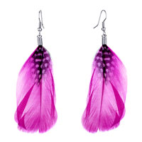 Fine Big Gradual Changed Hot Pink Feather Black Drape White Dots Dangle Knot Earrings