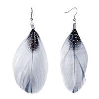 Fine Big Gray Feather Black Drape White Dots Dangle Knot Earrings