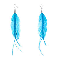 Fine Big Deep Sky Blue Feather Clear Rhinestone Crystal Dangle Knot Earrings