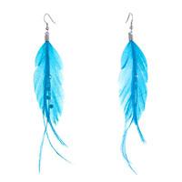 Fine Big Deep Sky Blue Feather Clear Rhinestone Crystal Dangle Knot Earrings