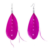 Fine Big Deep Pink Feather Clear Rhinestone Crystal Dangle Knot Earrings