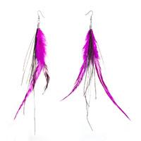 Fine Double Deep Pink A Few Green Feather Dangle Knot Earrings