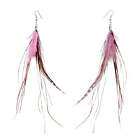 Fine Pink A Few Green Feather Dangle Knot Earrings