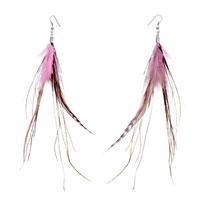 Fine Pink A Few Green Feather Dangle Knot Earrings