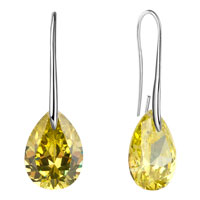 November Yellow Angel Pave Teardrop Crystal Earrings