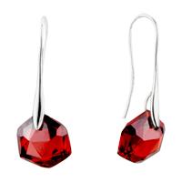 July Red Hexagon Swarovski Crystal Earrings
