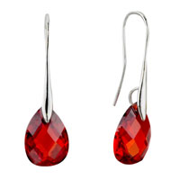July Red Angel Pave Teardrop Swarovski Crystal Earrings
