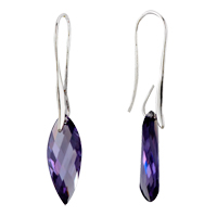 February Purple Leaf Elegant Swarovski Crystal Earrings