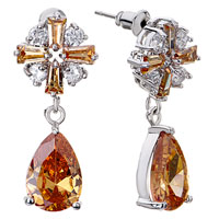 Clear Topaz Crystal Flower Dangle November Birthstone Drop Earrings