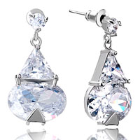 April Birthstone Clear Crystal Triangle Oval Dangle Earrings