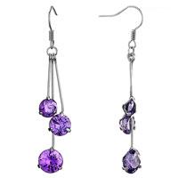 Triple Different Sized February Birthstone Purple Crystal Round Dangle Drop Earrings